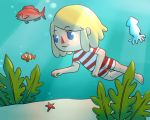 1girl blonde_hair blue_eyes bubble deviantart doubutsu_no_mori fish flabmil nintendo original squid starfish swimsuit underwater