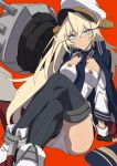 1girl absurdres ankle_boots azur_lane black_gloves black_legwear blonde_hair blue_eyes blue_jacket blue_neckwear blush boots cannon character_request closed_mouth eyebrows_visible_through_hair fingerless_gloves gloves hair_between_eyes hat headgear highres invisible_chair jacket jacket_on_shoulders legs_crossed long_hair long_sleeves looking_at_viewer machinery military military_hat military_uniform naval_uniform necktie panties peaked_cap red_background simple_background sitting solo sweatdrop thigh-highs underwear uniform v-shaped_eyebrows very_long_hair westxost_(68monkey) white_hat white_panties