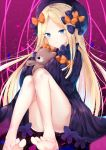 1girl abigail_williams_(fate/grand_order) bangs bare_legs barefoot black_bow black_dress black_hat blonde_hair blue_eyes blush bow butterfly closed_mouth dress eyebrows_visible_through_hair fate/grand_order fate_(series) forehead hair_bow hat highres holding holding_stuffed_animal long_hair long_sleeves looking_at_viewer orange_bow parted_bangs polka_dot polka_dot_bow sleeves_past_wrists solo stuffed_animal stuffed_toy tamakinoki teddy_bear very_long_hair