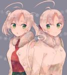 2girls aoba_(kantai_collection) bag coat green_eyes grey_background hair_ornament handbag itomugi-kun jacket jacket_on_shoulders kantai_collection kinugasa_(kantai_collection) looking_at_another looking_at_viewer medium_hair multiple_girls open_mouth ornament pink_hair ponytail red_sweater remodel_(kantai_collection) siblings sisters smile snowflakes sweater twintails