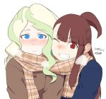 2girls ;d blonde_hair blue_eyes blush breath brown_hair cheek-to-cheek coat dated diana_cavendish facing_viewer kagari_atsuko little_witch_academia multiple_girls one_eye_closed one_side_up open_mouth plaid plaid_scarf red_eyes scarf shared_scarf signature smile tsukudani_(coke-buta) winter_clothes winter_coat