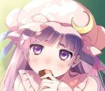 1girl bangs blue_ribbon blunt_bangs blush bun_cover collared_dress commentary_request cookie crescent crescent_moon_pin dress ear eating fingernails food gradient gradient_background green_background hat hat_ribbon holding holding_food jpeg_artifacts long_hair long_sleeves looking_at_viewer mob_cap nose_blush patchouli_knowledge pink_dress pink_hat purple_hair red_ribbon ribbon solo thick_eyebrows touhou upper_body vanilla_(miotanntann) violet_eyes yellow_background