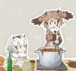 2girls blonde_hair book bottle brown_coat brown_eyes brown_hair can carrot coat cooking curry drooling eurasian_eagle_owl_(kemono_friends) food fur_collar gloves grey_coat grey_hair head_wings highres holding kemono_friends long_sleeves multicolored_hair multiple_girls northern_white-faced_owl_(kemono_friends) open_book plate pot potato smile spoon uepon_(shimo_ponzu) white_gloves white_hair yellow_eyes yellow_gloves