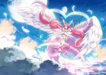 1girl antenna_hair arm_ribbon asymmetrical_legwear boots choker cure_happy dress feathered_wings feathers flying head_wings hoshi_(xingspresent) hoshizora_miyuki layered_dress long_hair magical_girl pink_dress pink_eyes pink_hair precure ribbon smile smile_precure! solo twintails ultra_cure_happy white_footwear white_wings wings