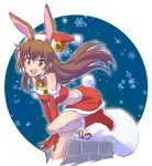 1girl animal_ears boots brown_eyes brown_hair bunny_girl bunny_tail chimney christmas dress hat iesupa rabbit_ears rwby sack santa_boots santa_costume santa_hat snowflakes snowing solo strapless strapless_dress tail velvet_scarlatina