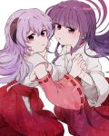 2girls copyright_name detached_sleeves english floating_hair furude_rika hakama hana_(h6n6_matsu) hand_holding hanyuu highres higurashi_no_naku_koro_ni horns interlocked_fingers japanese_clothes miko multiple_girls purple_hair red_hakama sad violet_eyes white_background wide_sleeves