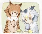 2girls absurdres black_hair blonde_hair book brown_coat brown_eyes brown_hair coat eurasian_eagle_owl_(kemono_friends) fur_collar gloves grey_coat grey_hair head_wings highres holding kemono_friends long_sleeves magnifying_glass multicolored_hair multiple_girls northern_white-faced_owl_(kemono_friends) open_book sparkle uepon_(shimo_ponzu) upper_body white_hair yellow_eyes yellow_gloves