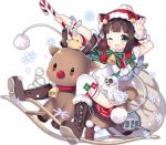 >_< 1girl :3 :d ;d animal_ears azur_lane bangs bell bird blunt_bangs blush boots bow brown_footwear brown_hair candy candy_cane capelet cat_ears chick dress fang food full_body green_eyes green_ribbon hat holding hood hood_up machinery mutsuki_(azur_lane) official_art one_eye_closed open_mouth over-kneehighs red_bow red_capelet reindeer ribbon sack santa_costume santa_hat short_dress short_hair simple_background smile solo tareme thigh-highs tongue transparent_background tsukimi_(xiaohuasan) turret white_dress white_legwear
