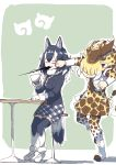 2girls absurdres animal_ears belt black_hair black_jacket black_legwear boots breast_pocket brown_hair brown_neckwear cup fur_collar fur_trim giraffe_ears giraffe_horns giraffe_print giraffe_tail grey_wolf_(kemono_friends) highres holding holding_cup jacket japari_symbol kemono_friends long_hair long_sleeves miniskirt multicolored multicolored_clothes multicolored_hair multicolored_legwear multiple_girls no_eyes plaid plaid_neckwear plaid_skirt pleated_skirt pocket print_legwear print_skirt punching reticulated_giraffe_(kemono_friends) skirt stool table tail thigh-highs uepon_(shimo_ponzu) white_footwear white_hair white_legwear wolf_ears wolf_tail zettai_ryouiki