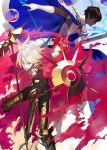 2girls arjuna_(fate/grand_order) black_bodysuit blue_cape blue_eyes bodysuit brown_eyes brown_hair cape closed_mouth collar dark_skin eyebrows_visible_through_hair fate/apocrypha fate/grand_order fate_(series) gloves greaves hair_between_eyes holding holding_weapon karna_(fate) looking_at_viewer male_focus metal_collar multicolored multicolored_cape multicolored_clothes multiple_girls pale_skin parted_lips shirabi spikes two-handed vambraces weapon white_gloves white_hair