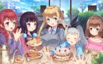 1boy 4girls :d :o absurdres amano_miu artist_name black_hair blend_s blonde_hair blue_eyes blue_sky blush bow braid bread breasts brown_hair cake closed_eyes clouds cup day eye_contact facing_viewer food fruit grey_hair grey_sweater hands_together highres hinata_kaho holmemee hoshikawa_mafuyu jacket kanzaki_hideri lamppost large_breasts long_hair looking_at_another multiple_girls open_mouth outstretched_arms pancake plater redhead sakuranomiya_maika scenery school_uniform serafuku sitting sky small_breasts smile stack_of_pancakes strawberry striped striped_bow sweater syrup table tea teacup twintails violet_eyes