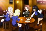 4girls absurdres andou_(girls_und_panzer) angry azumi_(girls_und_panzer) black_hair blonde_hair blue_eyes brown_hair cookie cup cupcake dessert food girls_und_panzer green_eyes highres marie_(girls_und_panzer) multiple_girls official_art open_mouth oshida_(girls_und_panzer) sitting skirt smile table tea teacup