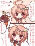 1girl 2koma :o ahoge bangs blush chocolate_on_fingers closed_mouth comic commentary_request dated eyebrows_visible_through_hair hair_ornament heart i-58_(kantai_collection) kantai_collection komakoma_(magicaltale) parted_lips pink_eyes pink_hair school_uniform serafuku shirt short_hair_with_long_locks short_sleeves translation_request twitter_username white_shirt