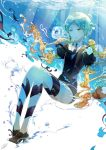 androgynous animal aqua_eyes aqua_hair black_neckwear bubble commentary gem_uniform_(houseki_no_kuni) high_heels houseki_no_kuni jellyfish knees_up necktie ocean phosphophyllite puffy_sleeves ricemo shirt short_hair short_sleeves shorts sitting solo spoilers submerged underwater uniform water water_surface