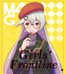 1girl arm_at_side artist_name bangs beret bespectacled black-framed_eyewear blush character_profile checkered checkered_background commentary_request copyright_name duffel_coat english flower girls_frontline glasses green_coat hair_ornament hairclip hat highres holding holding_flower long_sleeves looking_at_viewer mg4_(girls_frontline) ranyu red_hat revision round_eyewear silver_hair smelling solo tareme turtleneck upper_body watch watch yellow_background yellow_eyes