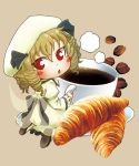 1girl blonde_hair blush bow chamaji coffee coffee_beans coffee_cup crescent croissant dress drill_hair eyebrows_visible_through_hair fairy_wings food frills hair_between_eyes hat highres long_sleeves luna_child open_mouth red_eyes saucer shoes simple_background solo touhou wide_sleeves wings