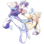2boys bakusou_k bare_chest black_eyes black_hair blonde_hair blue_eyes boots dougi dragon_ball dragonball_z earrings fighting frown gloves gogeta jewelry looking_at_another male_focus multiple_boys serious short_hair simple_background super_saiyan vegetto white_background