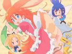 3girls ahoge animal_ears apron argyle argyle_background back_bow bangs_pinned_back black_legwear blonde_hair blue_eyes blue_hair blue_sailor_collar blue_skirt blush bow brown_eyes buck_teeth bunny_tail cardigan dress embarrassed flip_flappers floppy_ears frilled_dress frills grabbing hair_bow hair_ornament hairclip heart heart_eyes highres kokomine_cocona legs_together long_hair multiple_girls neckerchief nynkny o_o orange_hair pantyhose papika_(flip_flappers) pink_dress pleated_skirt puffy_short_sleeves puffy_sleeves rabbit rabbit_ears ribbon robot sailor_collar school_uniform serafuku short_hair short_sleeves skirt smile sweat sweating_profusely tail violet_eyes yayaka