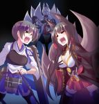 4girls akagi_(azur_lane) akagi_(kantai_collection) animal_ears apron ass azur_lane black_background black_hair black_legwear blue_eyes blue_skirt bow_(weapon) breasts brown_eyes carrying cleavage closed_eyes commentary_request crossover eyebrows_visible_through_hair flight_deck fox_ears fox_tail highres holding holding_bow_(weapon) holding_weapon kaga_(azur_lane) kaga_(kantai_collection) kantai_collection kazekawa_nagi large_breasts long_hair multiple_girls multiple_tails muneate open_mouth red_skirt short_hair side_ponytail skirt straight_hair tail tasuki thigh-highs torn_clothes torn_skirt torn_thighhighs weapon white_hair