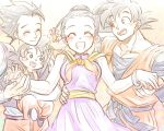 1girl 3boys :d bakusou_k black_eyes black_hair bracelet brothers chinese_clothes closed_eyes couple dragon_ball dragonball_z earrings eyebrows_visible_through_hair family father_and_son flower happy hetero jewelry mother_and_son multiple_boys open_mouth short_hair siblings smile spiky_hair