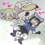 2girls animal_ears black_footwear black_gloves black_legwear black_skirt blonde_hair blue_shirt boots bow bowtie closed_eyes closed_mouth common_raccoon_(kemono_friends) elbow_gloves fangs fennec_(kemono_friends) fox_ears fox_tail gloves grey_hair kemono_friends lying multicolored_hair multiple_girls on_back on_stomach open_mouth pantyhose pink_shirt pleated_skirt puffy_short_sleeves puffy_sleeves raccoon_ears raccoon_tail shade shirt short_hair short_sleeves skirt sleeping spread_legs tail totokichi white_legwear white_skirt yellow_legwear