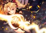 1girl anklet asymmetrical_legwear asymmetrical_sleeves bangs black_cape blonde_hair blush cape commentary_request earrings embers ereshkigal_(fate/grand_order) fate/grand_order fate_(series) fur-trimmed_cape fur_trim glowing glowing_weapon hair_ribbon holding holding_weapon infinity jewelry kurono_kito light_particles long_hair looking_at_viewer open_mouth parted_bangs red_eyes red_ribbon ribbon single_detached_sleeve single_sleeve single_thighhigh solo thigh-highs tiara tohsaka_rin two_side_up weapon