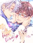 2boys ^_^ black_hair blush closed_eyes etou_kira glasses hands_on_another's_face happy_birthday katsuki_yuuri male_focus multiple_boys open_mouth scarf shared_scarf silver_hair smile snowflakes viktor_nikiforov yaoi yuri!!!_on_ice