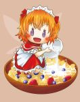 1girl ascot blue_eyes blueberry blush bowl capelet cereal chamaji eyebrows_visible_through_hair fairy_wings fang food fruit headdress highres kneeling open_mouth orange_hair pitcher pouring raspberry short_hair short_sleeves simple_background skirt solo sunny_milk touhou wings