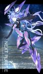 1girl absurdres armor armored_boots bodysuit boots breasts covered_navel floating full_body headgear highres long_hair looking_at_viewer medium_breasts multiple_wings neptune_(series) next_purple open_mouth power_symbol purple_hair ramu-on@_shinon shin_jigen_game_neptune_vii skin_tight solo symbol-shaped_pupils very_long_hair wings