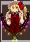 1girl arm_belt ascot buttons claw_pose commentary_request flandre_scarlet haiiro_gundan hat hat_ribbon highres long_hair looking_at_viewer mob_cap nail_polish pointy_ears puffy_short_sleeves puffy_sleeves red_eyes red_nails red_neckwear red_ribbon red_skirt ribbon short_sleeves side_ponytail skirt skirt_set smile solo teeth touhou upper_body vest wing_collar wings