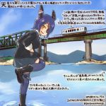 2girls :d black_cardigan black_jacket black_skirt brown_eyes cardigan colored_pencil_(medium) commentary_request dated eyepatch ground_vehicle hands_in_pockets headgear jacket kantai_collection kirisawa_juuzou long_sleeves multiple_girls numbered open_mouth purple_hair purple_legwear short_hair skirt smile solo_focus standing standing_on_liquid tatsuta_(kantai_collection) tenryuu_(kantai_collection) thigh-highs traditional_media train translation_request twitter_username
