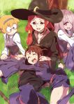 4girls :d black_choker blonde_hair blue_eyes blue_legwear blue_skirt blue_vest bright_pupils brown_hair choker collared_shirt commentary_request crying glasses grass hair_over_one_eye hat highres hood hood_down hug kagari_atsuko laughing little_witch_academia long_hair long_sleeves lotte_jansson lying multiple_girls one_eye_covered open_mouth outdoors pink_hair red_eyes redhead robe sanpaku sash seiza sharp_teeth shiny_chariot shirt short_hair side_ponytail sitting skirt smile socks spoilers sucy_manbavaran tama tears teeth tree under-rim_eyewear under_tree ursula_charistes vest white_shirt witch witch_hat