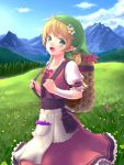 1girl :d antenna_hair apophis_str apron bag bandage bandaged_arm bangs blonde_hair blue_sky blush day dress elf eyebrows_visible_through_hair field flower frilled_dress frilled_sleeves frills grass green_eyes hair_flower hair_ornament hair_ribbon head_scarf herb highres long_hair looking_at_viewer low-tied_long_hair mountain mountainous_horizon open_mouth original outdoors pocket pointy_ears puffy_short_sleeves puffy_sleeves red_dress red_ribbon ribbon short_sleeves sky smile solo standing tareme waist_apron white_apron