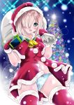 1girl aka_kitsune bell blue_panties capelet christmas_tree gift gloves grey_hair hair_ornament hair_over_one_eye hairclip hamakaze_(kantai_collection) hat jingle_bell kantai_collection looking_at_viewer open_mouth panties pom_pom_(clothes) red_gloves red_legwear sack santa_costume santa_hat smile solo thigh-highs underwear
