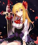 1girl alternate_breast_size alternate_hair_length alternate_hairstyle ascot black_background black_dress blonde_hair breasts commentary_request dress hair_ribbon highres holding holding_sword holding_weapon large_breasts long_hair long_sleeves looking_at_viewer parted_lips petals petticoat red_eyes red_neckwear red_ribbon ribbon rin_falcon rumia seiza shirt sidelocks sitting solo sword touhou weapon white_shirt