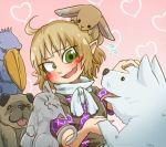 1girl :3 ahoge animal animal_ears animal_on_head bird blonde_hair blush cat cat_ears cat_tail chamaji closed_eyes commentary_request dog dog_ears green_eyes handshake heart mizuhashi_parsee on_head open_mouth petting pointy_ears rabbit rabbit_ears shoebill short_hair short_sleeves tail tongue tongue_out touhou upper_body wavy_mouth