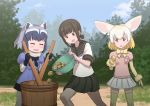 3girls :d ^_^ animal_ears art_shift black_eyes black_gloves black_hair closed_eyes commentary_request common_raccoon_(kemono_friends) crossover fennec_(kemono_friends) food food_on_face fox_ears fubuki_(kantai_collection) fur_trim gloves gradient_hair green_eyes holding kantai_collection kemono_friends long_hair low_ponytail misumi_(niku-kyu) multicolored_hair multiple_girls open_mouth pleated_skirt potato raccoon_ears remodel_(kantai_collection) school_uniform serafuku shibafu_(glock23)_(style) short_hair silver_hair skirt smile thigh-highs v-shaped_eyebrows yellow_gloves zettai_ryouiki
