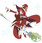 1girl armpits bell broom broom_riding cape christmas full_body fur_trim hat highres jingle_bell little_witch_academia looking_at_viewer open_mouth red_eyes redhead shiny_chariot showers-u solo transparent_background witch_hat
