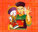2boys :p black_eyes blush_stickers carrying chaozu chinese_clothes dragon_ball feathers hat katori_(katokichi) looking_at_viewer male_focus multiple_boys open_palms pale_skin red_background simple_background smile tenshinhan tongue tongue_out
