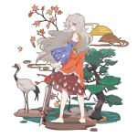1girl aibivy autumn_leaves bare_shoulders barefoot bird bird_request bow brown_skirt cutout detached_sleeves full_body grey_hair hatchet highres long_hair looking_at_viewer looking_back oriental_hatchet red_bow red_eyes sakata_nemuno skirt smile solo touhou tree white_background