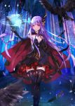 1girl bird book breasts cape cleavage crow elbow_gloves gloves jewelry long_hair magic_circle original purple_hair red_eyes revision small_breasts solo thigh-highs very_long_hair wand weed_(astarone)