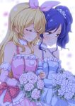 2girls aikatsu! arm_holding bangs bare_shoulders blonde_hair blue_eyes blue_hair blush bouquet bow closed_eyes commentary_request detached_sleeves dress eyebrows_visible_through_hair flower hair_between_eyes hair_bow hair_ornament hair_scrunchie hairband holding holding_bouquet hoshimiya_ichigo kiriya_aoi locked_arms long_hair multiple_girls scrunchie side_ponytail sleeveless sleeveless_dress smile spaghetti_strap tokunou_shoutarou upper_body yuri