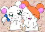 1boy 1girl :3 adorable animal bijou blush closed_eyes deviantart endless-rainfall hamster hamtaro hamtaro_(hamtaro) no_humans open_mouth ribbon shogakukan tms_entertainment twintails