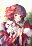 1girl animal bangs bell blunt_bangs brown_hair commentary_request eyebrows_visible_through_hair fish_hair_ornament fox hair_ornament highres holding japanese_clothes jingle_bell kagura_(onmyoji) kimono looking_at_viewer nakatokung onmyoji red_eyes short_hair smile solo upper_teeth