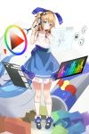 1girl :o artist_name azur_lane bangs bare_arms bare_shoulders black_footwear blue_eyes blue_ribbon blue_skirt blush camisole can collarbone commentary_request eyebrows_visible_through_hair full_body gloves hair_between_eyes hair_bun hair_ribbon head_tilt headphones highres holding holding_stylus kneehighs light_brown_hair long_hair looking_at_viewer magnifying_glass original paintbrush parted_lips pigeon-toed red_bull ribbon seero shoes side_bun single_glove skirt solo standing stylus unicorn_(azur_lane) white_camisole white_gloves white_legwear