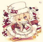 1girl ;) aircraft airplane animal azur_lane bald_eagle bangs belt belt_buckle bird black_belt black_shirt blush buckle chibi christmas closed_mouth eagle earmuffs enterprise_(azur_lane) eyebrows eyebrows_visible_through_hair eyelashes flight_deck full_body fur_hat fur_trim gift hat hat_ornament horizontal_stripes leaf leg_up long_hair muuran one_eye_closed parted_bangs reindeer ribbon santa_hat scarf shadow shirt sidelocks signature silver_hair skirt sleigh smile snowman socks solo standing standing_on_one_leg star straight_hair striped striped_ribbon translation_request tsurime ushanka very_long_hair violet_eyes white_hat white_legwear white_scarf white_skirt