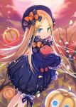1girl abigail_williams_(fate/grand_order) bangs bare_tree black_bow black_dress black_hat blonde_hair bloomers blue_eyes bow butterfly clouds cloudy_sky commentary_request dress eyebrows_visible_through_hair fate/grand_order fate_(series) hair_bow hat jack-o'-lantern jin_young-in long_sleeves looking_at_viewer noose object_hug orange_bow outdoors parted_bangs parted_lips polka_dot polka_dot_bow rope sky sleeves_past_wrists solo stuffed_animal stuffed_toy teddy_bear tree underwear v-shaped_eyebrows white_bloomers