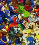 1998 6+boys beard bengus blonde_hair blue_hair bodysuit brown_hair bun_cover capcom captain_america captain_commando_(character) chest_hair chun-li colossus_(x-men) cyberbots cyclops_(x-men) double_bun earrings facial_hair gambit green_hair green_skin head_wings headband helmet high_collar highres hulk jewelry marvel marvel_vs._capcom multiple_boys official_art red_headband rockman_(character) roll ryuu_(street_fighter) zangief