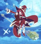 1girl armpits bell broom broom_riding cape christmas full_body fur_trim hat highres jingle_bell little_witch_academia looking_at_viewer moon open_mouth red_eyes redhead shiny_chariot showers-u sky solo witch_hat