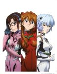 3girls absurdres adjusting_eyewear ayanami_rei bangs blue_eyes blue_hair bodysuit breasts brown_hair evangelion:_2.0_you_can_(not)_advance expressionless glasses hair_ornament hairband highres long_hair looking_at_viewer makinami_mari_illustrious matsubara_hidenori medium_breasts multiple_girls neon_genesis_evangelion official_art page_number pilot_suit plugsuit rebuild_of_evangelion scan short_hair simple_background skin_tight smile souryuu_asuka_langley upper_body white_background year